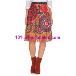 skirt suede print fringes 101 idées 165CW New winter collection 2017