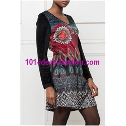 dress tunic velvet ethnic winter 101 idées 2004W paris french