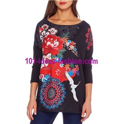 oberteile top t-shirt blumen ethno winter 101 idées 2101W günstig shop