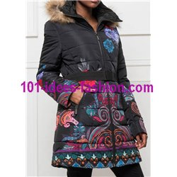 coat long quilted ethnic print fur hood brand 101 idees 1809W