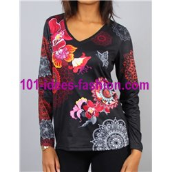 T-shirt top winter floral ethnic 101 idées 0463W store uk