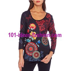 oberteile top t-shirt blumen ethno winter 101 idées 2103W fashion