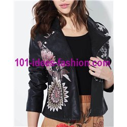 jacke Kunstleder perfecto ethno 101 IDEES 1932W fashion