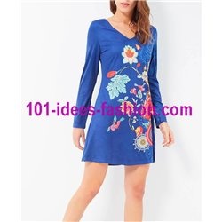 dress tunic suede ethnic floral 101 idées 3139W Spring Summer 2018