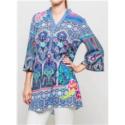 ethnic and floral print blouse 101 idées 3405Y womens clothes sale