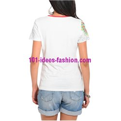 T-shirt top summer floral ethnic 101 idées 466Y clothes for women