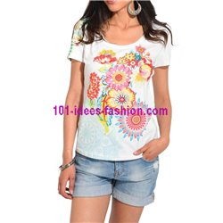 top t-shirt plus size summer floral ethnic 101 idées Design 473YL