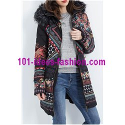 coat long quilted print floral fur hood brand 101 idees 1827Z clothes