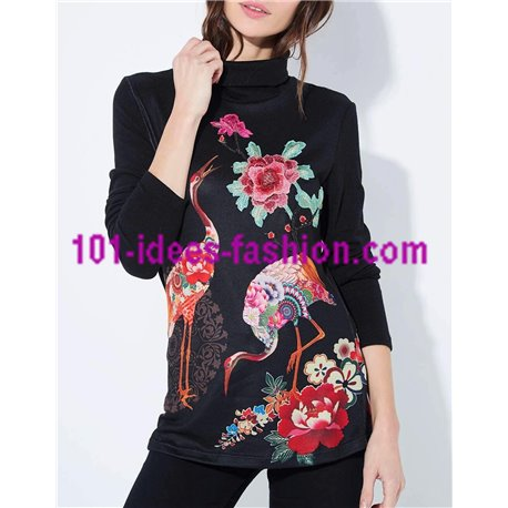 boho chic camiseta top invierno floral etnica 101 idées 2128Z ropa fashion