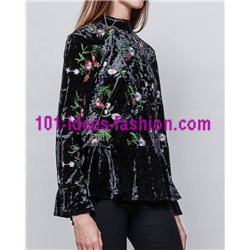 oberteile top samt blumen winter 101 idées 3707Z boho hippie fashion
