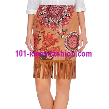 skirt suede print fringes 101 idées 167Z clothes for women