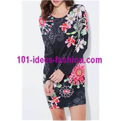 boho chic dress tunic suede ethnic floral 101 idées 3136Z clothes for
