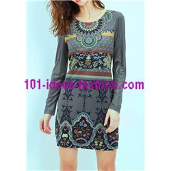 boho chic dress tunic suede ethnic winter 101 idées 3119Z clothes for