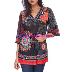 boho chic ethnic and floral print blouse tunic 101 idées 1607Y