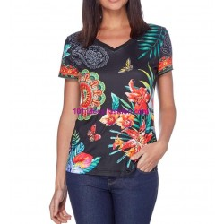 buy now T-shirt top floral ethnic 101 idées 455P clothes for women