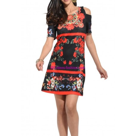 buy now dress tunic ethnic floral print summer 101 idées 2319P
