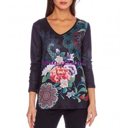 boho chic camiseta top invierno floral etnica 101 idées 2106W ropa fashion