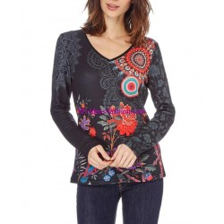 buy now T-shirt top winter floral ethnic 101 idées 0464Z clothes for