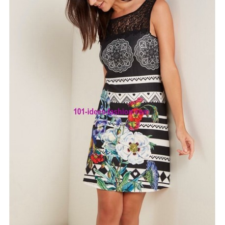 buy now dress tunic lace summer ethnic floral 101 idées 2801Y clothes