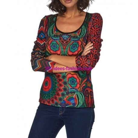T-shirt top winter 101 idées 031W spanish style